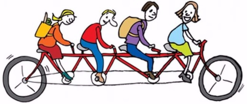 Four people riding a tandem