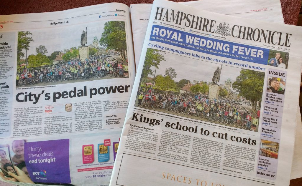Press coverage for our Mass Ride