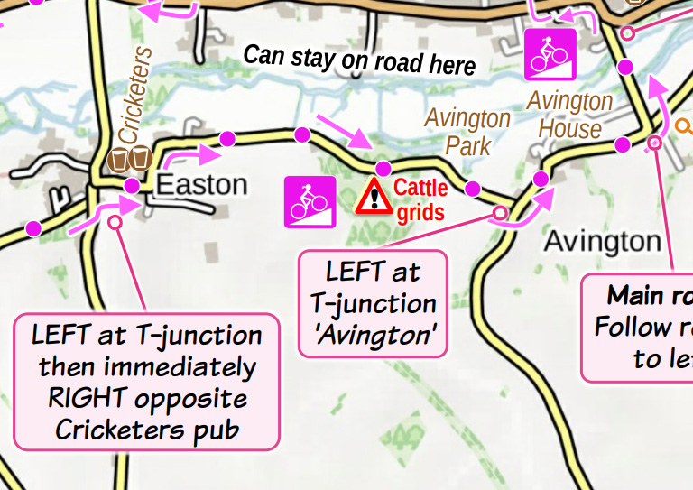 Clip from map for Avington cycle route