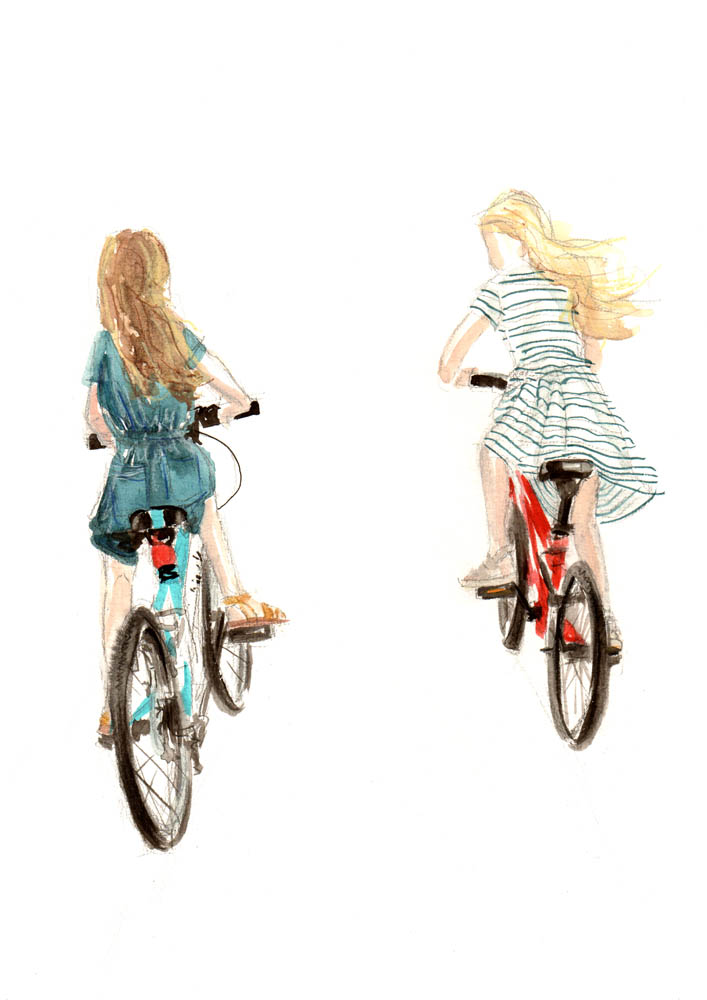 Cycling girls, by Lucy McLoughlin