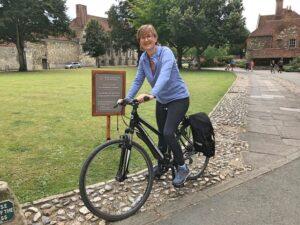 Vicky on her bike